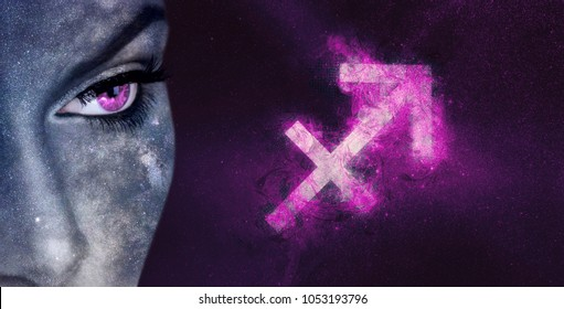 Sagittarius Zodiac Sign. Night sky Astrology women