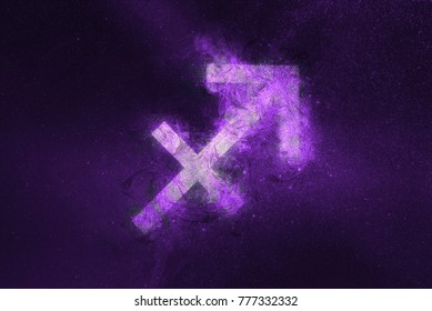 Sagittarius Zodiac Sign. Night sky Abstract background