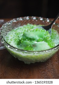 Sago in infused pandan leaf in coconut milk. Thai sago pearl sweet pudding.