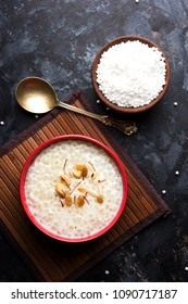Sago Kheer or Sabudana Khir is a sweet food from India. Served in a bowl with spoon. Selective focus