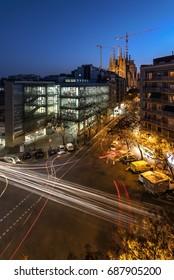 """""""Sagrada Familia"""", Barcelona, march 2017, seen at sunset"""