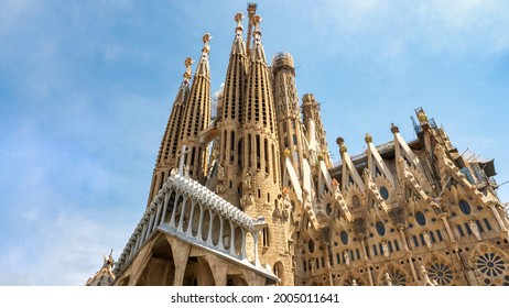 The Sagrada Familia and construction works in Barcelona, Spain