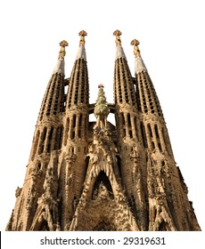 Sagrada Familia isolated on white background with clipping path. Barcelona Spain