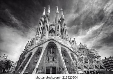 Sagrada Familia seen from the Passion Facade B&W