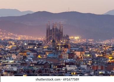 Sagrada familia skyline at dusk Barcelona city,spain