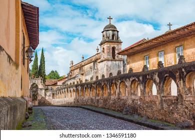 Sagrario Temple near main square of Patzcuaro Magic Town in Michoacan, Mexico