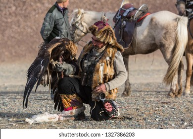 SAGSAY, MONGOLIA - SEP 28, 2017: Berkutchi - Eagle Hunter traditional clothing, while hunting to the hare holding a golden eagles on his arms in desert mountain of Western Mongolia.