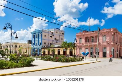 Sagua la Grande, Cuba - September 25, 2018: Cityscape and architecture view from the old town in Sagua la Grande in Cuba - Serie Cuba Reportage