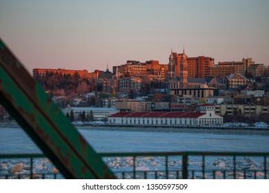 Saguenay, Québec/Canada - 03 26 2019 : Saguenay city at sunset.