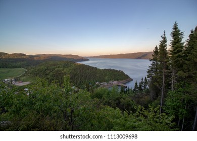 Saguenay, Québec/Canada - 06 12 2018 : View on the Saguenay fjord from a hiking spot.