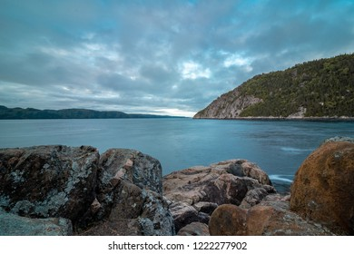 Saguenay, Québec/Canada - 10 09 2018 : the saguenay fjord covered with clouds at blue hour.