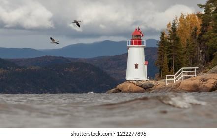 Saguenay, Québec/Canada - 10 09 2018 : A small lighthouse near the Saguenay fjord at fall with birds.
