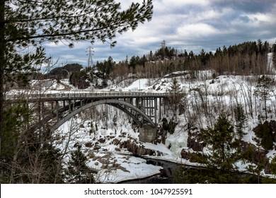 Saguenay, quebec/canada - 03 16 2018 : The aluminum bridge of Arvida