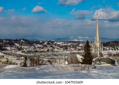Saguenay, quebec/canada - 03 16 2018 : Mountain over the fjord