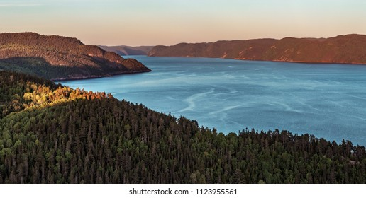 Saguenay, Quebec/Canada - 06 30 2018 : the majestic Saguenay fjord at sunset.