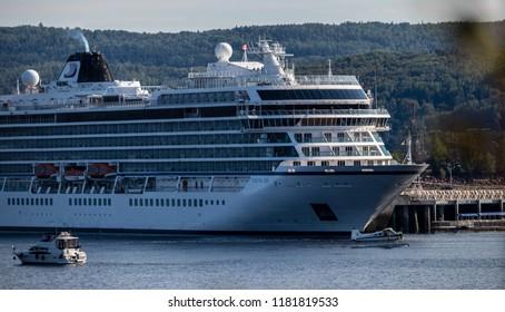 Saguenay, Quebec/Canada - 09 16 2018 : Cruises boats docked at the port of Saguenay