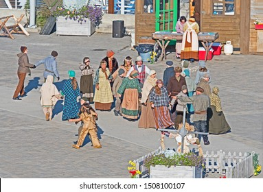 Saguenay, Quebec/Canada - September 18 2019: traditional dancers welcome the arrival of the cruise ship Seabourn Quest to Saguenay.