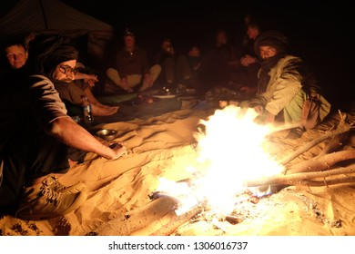 Sahara, Atar region, Mauritania - 13 January 2019: Night in Sahara desert.