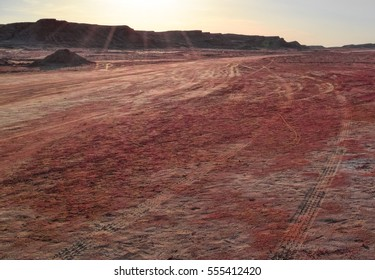 Sahara desert in Africa looks like Martian red desert landscape