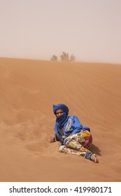 Sahara Desert, Morocco, 2 April 2014: Tuareg man in Sahara Desert, Morocco.