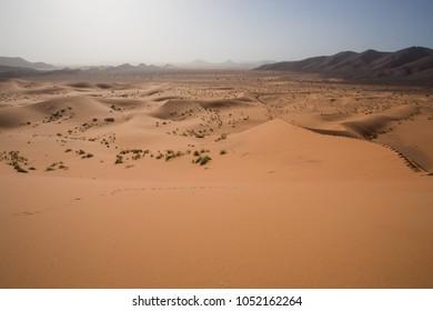 Sahara desert sand storm. Sahara, Morocco.