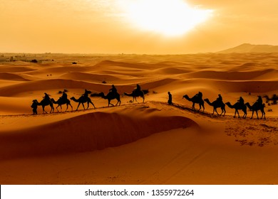 Sahara desert Silhouette of Camels caravan of tourists riding over sand dune against sunrise, travel destination in Merzouga, Morocco