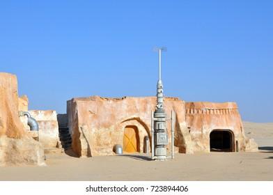 SAHARA DESERT, TUNISIA - August 04, 2010: The scenery in the Sahara Desert from the movie Star Wars