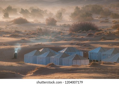 Sahara desrt camping site in the morning