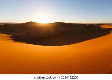 Sahara dunes in Merzouga, Africa, the grand Dune of Merzouga