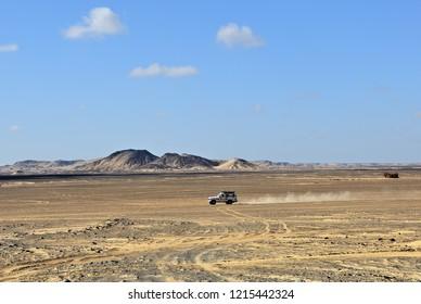 Sahara, Egypt - December 25, 2008: Sahara Desert safari off-road vehicle into the sand desert in Egypt