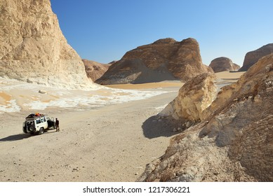Sahara, Egypt - December 27, 2008: Off-road car shown in the White desert. Extreme desert safari is one of the main local tourist attraction in Egypt