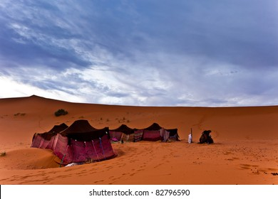 Sahara, Morocco: Bedouin nomad tent camp in the Sahara Desert, Morocco