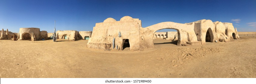 """Sahara, Tunisia - October 28, 2019: Panoramic landscape with abandoned and empty scenery Tatooine planet for the movie """"Star Wars"""" in the Sahara desert"""