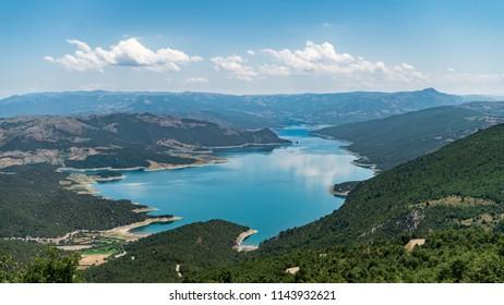 Sahinkaya Canyon in Vezirkopru district of Samsun with Kizilirmak river and lake,Turkey.