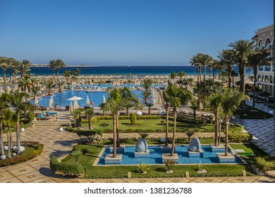 SAHL HASHEESH, HURGHADA, EGYPT - DECEMBER 21, 2018: Tropitel Sahl Hasheesh Resort - 5 star Deluxe hotel (566 rooms) with magical views of warm Red Sea and a sandy beach. Outdoor swimming pools heated.