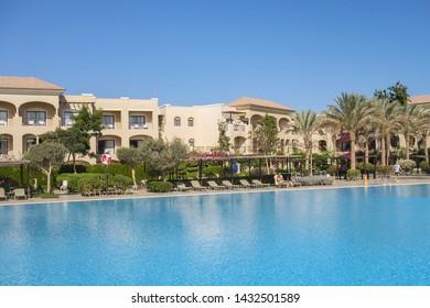 SAHL HASHEESH, HURGHADA, EGYPT - DECEMBER 18, 2018: Jaz Aquamarine Resort (1301 air-conditioned rooms) is luxurious 5* beachfront resort with private beach. Beautiful pools.
