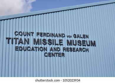 Sahuarita, Arizona. U.S.A. March 15, 2018. Titan II Missile Museum.  Count Ferdinand von Galen Titan Missile Museum Education and Research Center. Admission tickets, museum displays and gift shop.