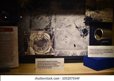 Sahuarita, Arizona. U.S.A. March 15, 2018. Titan II Missile Museum.  Display of September 18-19, 1980, accidental explosion; a dropped socket wrench punctured the Titan II's fuel tank that exploded