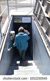 Sahuarita, Arizona. U.S.A. March 15, 2018. Titan II Missile Museum.  Titan II  complex access portal and freight elevator.  55-steps descend into the complex to the massively thick harden 'blast door'