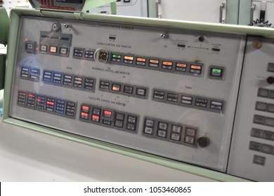 Sahuarita, Arizona. U.S.A. March 15, 2018. Titan II Missile Museum.  Titan II Launch Control Center's one of two launch control and monitor panels-one of two 'keys' held by 2-officers to launch titan