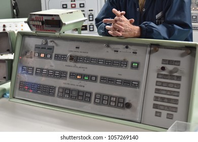 Sahuarita, Arizona. U.S.A. March 15, 2018. Titan II Missile Museum.  Titan II Launch Control Center's one of two launch control and monitor panels with one of two 'keys' held by 2-officers to launch