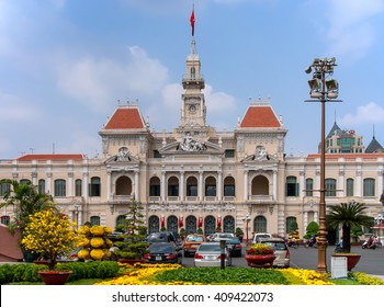SAI GON, VIET NAM, January 25, 2016 the headquarters downtown Sai Gon, Vietnam, on the occasion of New Year