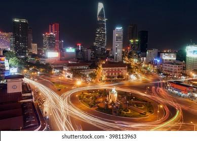 SAI GON, VIET NAM, March 22, 2016 the city of Saigon, at night