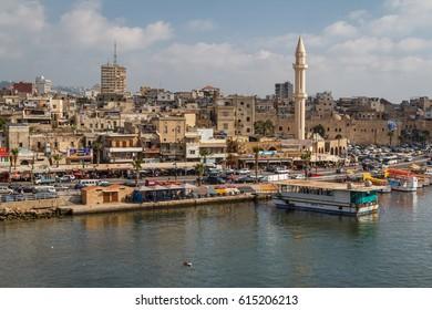 SAIDA / LEBANON - JUNE 2014: A view to the old part of Saida (Sidon) town, Lebanon