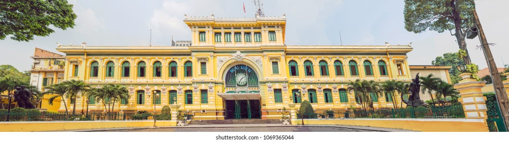 Saigon Central Post Office in Ho Chi Minh, Vietnam. Steel structure of the gothic building was designed by Gustave Eiffel. Inscription BUU DIEN in Vietnamese means central post office.