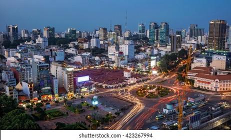 SaiGon city, HO CHI MINH, VIETNAM - November 2015 rush hour at Ho Chi Minh City. view Sai Gon from the high.