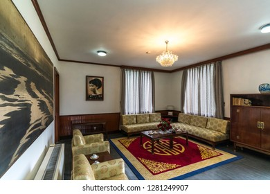 SAIGON - DECEMBER 26, 2018: Room of Ho Chi Minh in the Reunification Palace, previously the Independence. It was used as headquarters by the South Vietnamese cabinet during the Vietnam War.