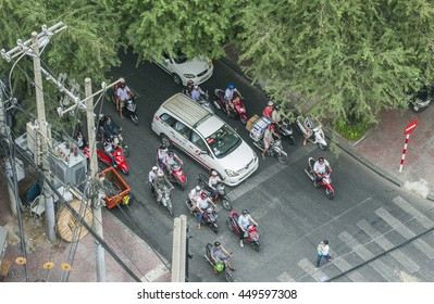 SAIGON - DECEMBER 29, 2013: Trafic on a street of Ho Chi Minh City, formerly named and still also referred to as Saigon It is the largest city in Vietnam.
