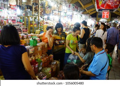SAIGON - FEB 4, 2015 - Buying food  at the Ben Thanh market, Saigon (Ho Chi Minh City),  Vietnam