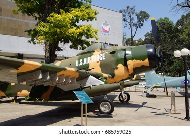 SAIGON - FEB 5, 2015 - American A1 Skyraider fighter plane from the Vietnamese war era,  War Remnants Museum, Saigon (Ho Chi Minh City),  Vietnam